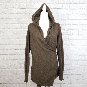 Betabrand brown wool alpaca wrap hoodie cardigan
